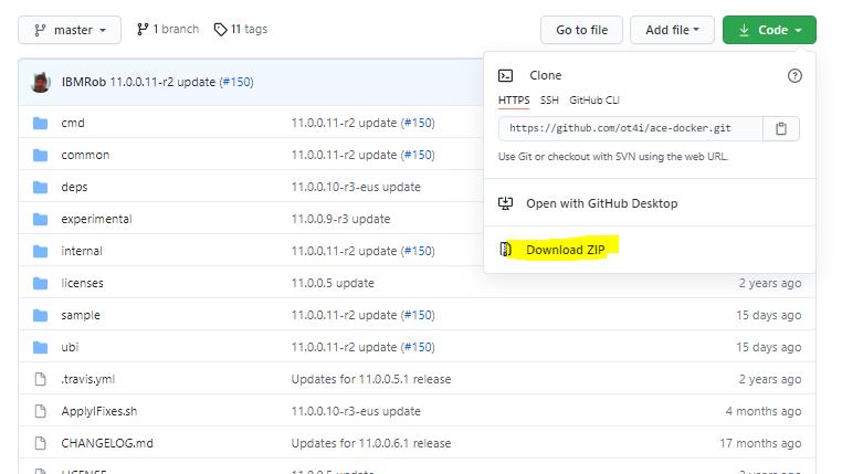 Download ot4i/ace-docker code base