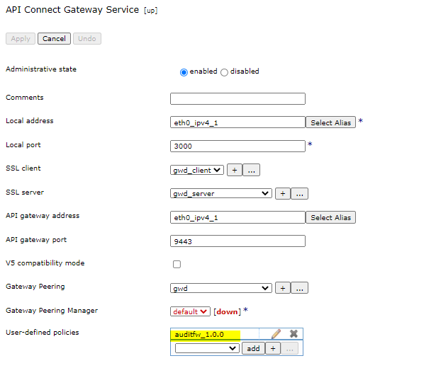 IBM API Connect User Defined Policy