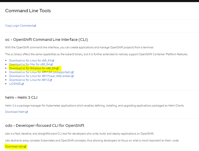 red hat openshift developer sandbox download cli